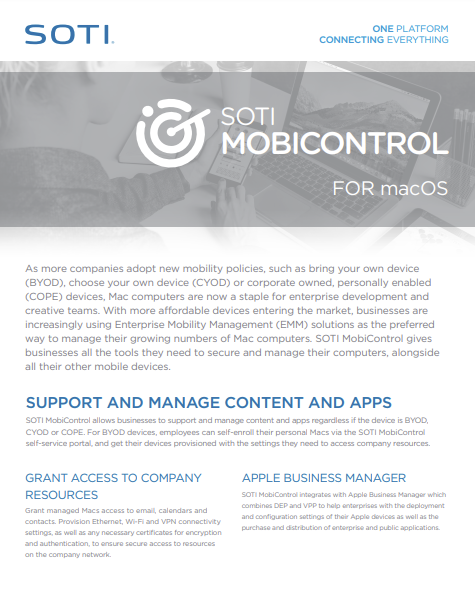 SOTI MobiControl macOS brochure for 2020