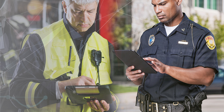 A healthcare worker and policeman using tablets that are managed and secured by SOTI ONE Platform